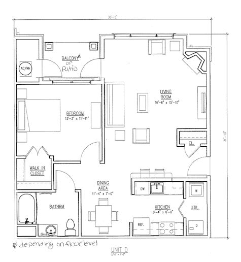 The Reserve at the Boulevard one bedroom floor plan