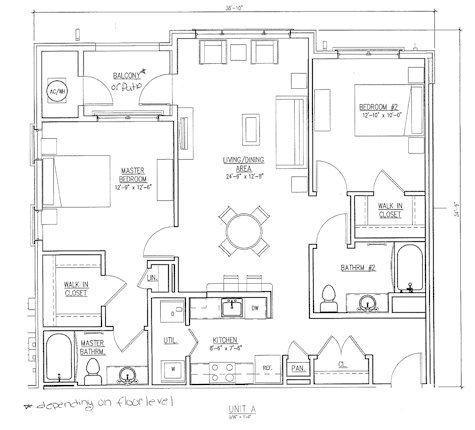 The Reserve at the Boulevard 2 bedroom floor plan